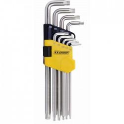 Set chei imbus torx securizate extra lungi 9 buc , 1.5-10mm in suport de plastic